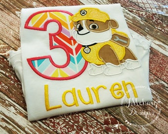 Paw Patrol Rubble Custom Shirt or Birthday Custom Tee Shirt - Customizable 47 glitter