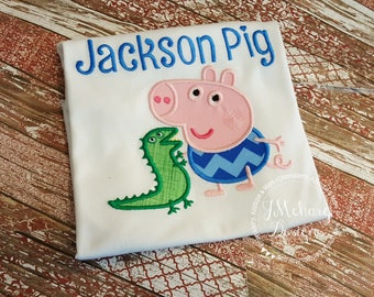Peppa George & Dino Custom Tee Shirt - Customizable -  Infant to Youth 190b