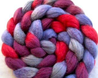 Polwarth and Tussah Silk 60/40 Hand Painted Roving (Combed top) 4 oz.