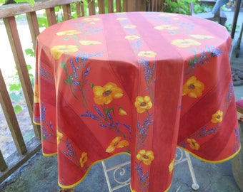 "Round tablecloth. French Cotton coated, oilcloth. 40 to 60"" diameter. Fabric from Provence, France.Poppies in terra cotta"