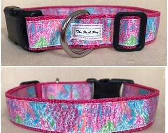 "Handmade Lilly Inspired Corals 1"" Adjustable Dog Collar - MEDIUM"