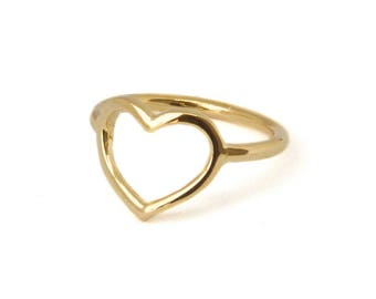 Heart ring, Dainty ring, Gold heart ring, Romantic ring, Midi ring, Knuckle ring, Bridesmaids ring, Pinky Ring, love ring, Gold filled ring