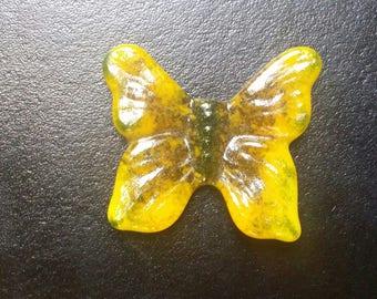 """Cabochon 1-7/8"""" Butterfly Moth Handmade Textured Tile Yellow Amber Green Art Glass 2017 Original Design Butterflies and Moths Series"""