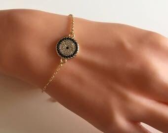 Evil Eye Rhinestone Bracelet, Gold Stud Evil Eye Bracelet, Evil Eye Charm, Amulet Charm,Kids Bracelet, Gold Jewelry, Onda ögat armband