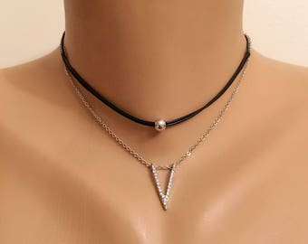 Dainty Choker Necklace, Leather Cord Necklace , Black  Jewelry, Rhinestone  Necklace, Gift for Her, Valentines Gift, Rhinestone Pendant Neck