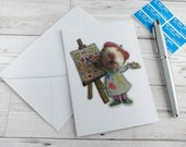 Hamster Artist Card Greetings Painter Cute Animal Humour Funny Blank Stationery