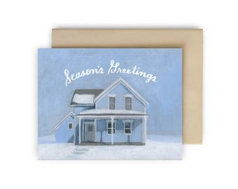 Set of 10 - Season's Greetings holiday cards - Hand lettered Christmas Cards - Nicollet Island house in the snow