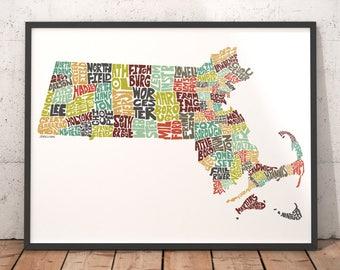 Massachusetts Map Etsy - Map of massachussets
