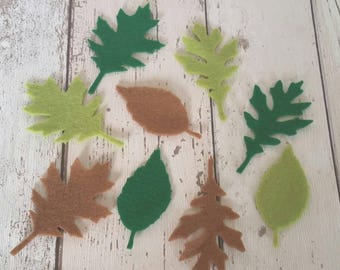 Green & Brown Felt Leaves, felt leaves, embellishments, felt applique, die cut leaves, felt supplies, Wreaths, Bridal Bouquet, brooch making