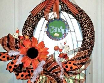Halloween Wreath, ribbon wrapped wreath, candy corn door hanger, candy corn wreath, Halloween door hanger, Halloween decoration, Fall wreath