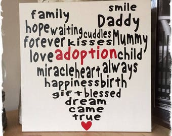 Handmade Adoption sign, plaque, board. House Gift.