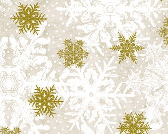 Christmas Fabric/Metallic Gold, and White Snowflakes/Cotton Sewing Material/Quilting, Craft/Fat Quarter, Half, or By The Yard, Yardage