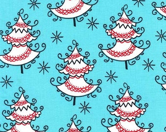 Christmas Fabric/All The Trimmings/White Christmas Trees on Aqua/Cotton Material/Quilting, Apron/Fat Quarter, Half By The Yard, Yardage