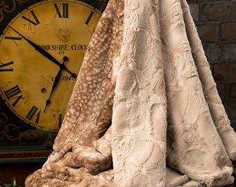 Faux Fur Luxury Throw, Faux Fur Blanket with Fawn Print, Fur Minky Throw Blanket, Home Decor Luxury Bedding, Minky Adult Blanket,