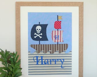 Pirate ship personalised appliqued and embroidered picture