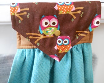 OWLS adorn this lovely  hanging aqua kitchen towel.