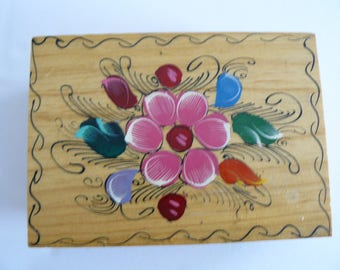 Wooden Floral Jewellry Box Hand Painted, Trinket Box, Funky Jewelry Box,