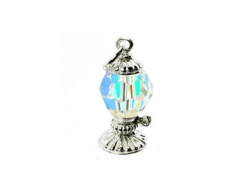 Sterling Silver & Swarovski Crystal Set Oil Lamp Charm For Bracelets