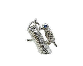 Sterling Silver Moving Woodpecker Charm For Bracelets