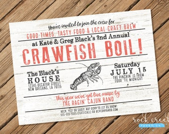 Crawfish Boil Invitation, Low Country Boil, Seafood Boil, Cajun Party, Creole Party, Southern Dinner, Printable Party Invitation