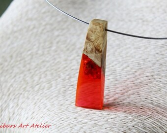 Resin Wood Necklace - Red Resin Necklace - Wooden Necklace - Christmas Gift For Her - Modernist Necklace - Art Pendant - Wooden Pendant