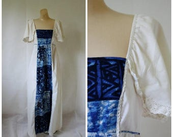 Sale Vintage Blue Hawaii Maxi Dress / 1970's Tribal Maxi Dress  / Vintage 70s Festival Dress / Vtg Hawaiian Maxi Dress / Young Hawaii Dress