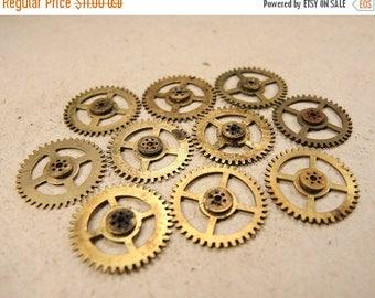 ON SALE Small Brass Clock Gears - Steampunk Jewelry Findings - set of 10 - G161