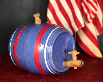 Vintage Pottery Whiskey Barrel | Vintage Whiskey Keg | 1940's American Art Pottery  | Red White and Blue Crock | Americana