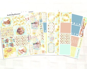 Sunflower Stickers for the Happy Planner – 5 Page Vinyl Planner Stickers Kit