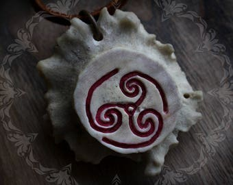 Rhiannon - antler bone necklace with carved celtic pagan triskele symbol on deer hide leather cord