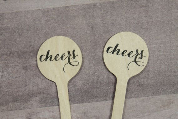 cheers wooden cocktail stirrers