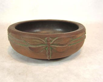 Peters and Reed art pottery low bowl  moss aztec dragonfly matt green 1910s arts and crafts Mission bungalow home