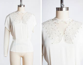 STUNNING Vintage 1940s 1950s Ivory Crepe Rayon Peekaboo Blouse with Rhinestones, Netting & Peter Pan Collar // Button Back // Trousseau Shop