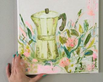 Original Fine Art Italian Expresso Coffee Maker & Flowers Acrylic contemporary Painting Wall Art Canvas 12 x 12 square home decor cuban kitc