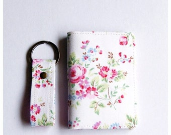 SALE 20% Business Card Holder, Gift Card Holder, Fabric Credit Card Case and Keyfob Gift Set  - Vintage Flowers