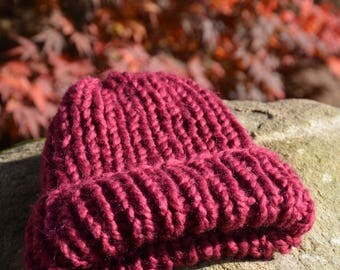 Hand Knit Hat Alpaca Wool Hat Maroon Chunky Beanie Hat Knitted Hat Women's Hat winter Hat