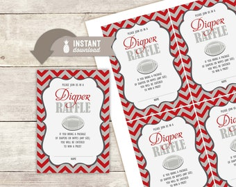 """Diaper Raffle Inserts: Vintage Chevron Football Baby Shower Design - 4 (3.5"""" x 5"""") Cards on an 8.5"""" x 11"""" Page - Printable File"""