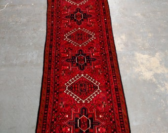Persian Rug - 1980s Hand-Knotted Karaja Persian Rug Runner (3679)