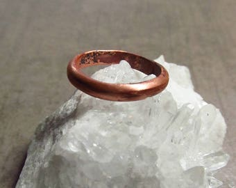Copper Ring Rustic Women's Jewelry Engagement Promise Ring Band - Size 5 - Hammered Adjustable Small Ring Copper Jewelry
