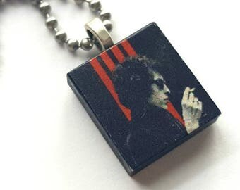 Bob Dylan Scrabble Tile Necklace with Stainless Steel Ball Chain - 1960s - folk music - rock music