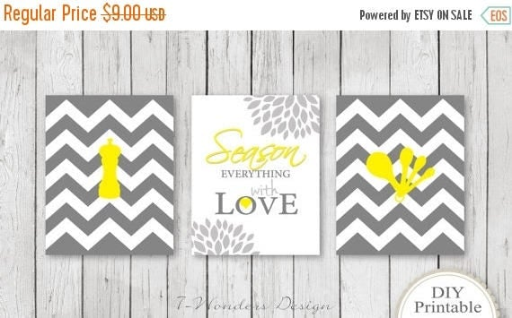 Yellow And Gray Kitchen Decor Kitchen Art Print Set Diy Printable Art 3 8 X 10 Prints Season Everything With Love