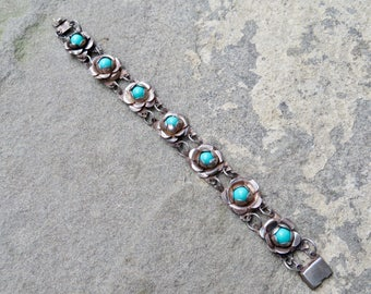 Taxco Sterling Bracelet,Turquoise and Silver Link Bracelet,Silver Rose Link Bracelet,Vintage Mexican Silver,Vintage Turquoise Jewelry