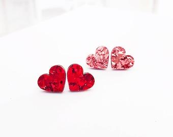 Heart Glitter Studs in Red or Rose confetti glitter