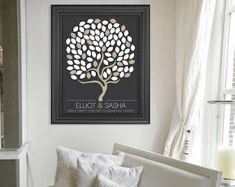 Personalized Wedding Guestbook Alternative // Signature Guestbook Custom Wedding Tree Print // 100 guests