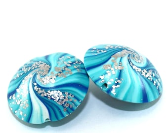 Unique focal beads, polymer clay beads, swirl lentil beads in blue, turquoise and white, 2 elegant beads,  beads for jewelry making