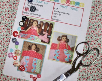 Kid's Sewing Kit-Stripey Quilt Sewing Kit-Learn to Sew for your Doll