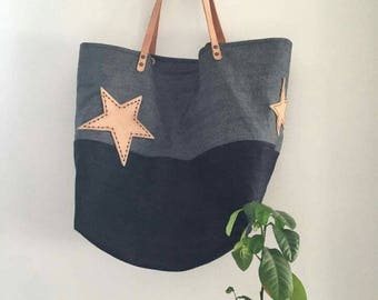 Large denim tote bag two shades of denim