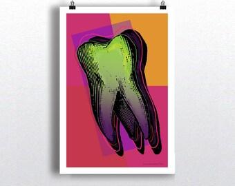"Pop Art Tooth 04, 13"" x 19"" Fine Art Print, Dental print, Dental Hygienist Gift, Dentist Office Decor, Warhol Style Tooth print, Tooth Art"