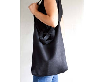 Black grocery bag, produce bag, linen shopping bags, linen zero waste bag, linen tote, market tote bag, market bag, zero waste