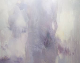 Abstract Figurative Painting Female Figure Artwork Large Oil Painting in Purple Frosty, Living Room Wall Art